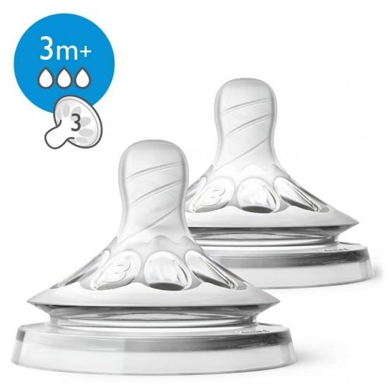 Avent Natural 3 holes Medium flow teat - 3 m+