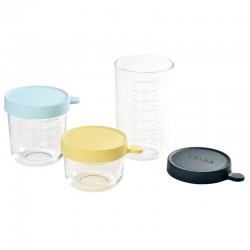 Beaba Set of 3 Superior Glass Portion - (150ml Yellow / 250ml Light Blue / 400ml Dark Blue)