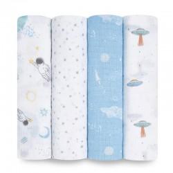 Aden+Anais essentials cotton muslin swaddle set 4 pcs - Space Explorers