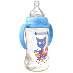 Babisil 10 oz Wide Neck PPSU Feeding bottle with Flexi-straw - Blue
