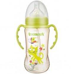 Babisil 10 oz Wide Neck PPSU Feeding bottle with Flexi-straw - Green