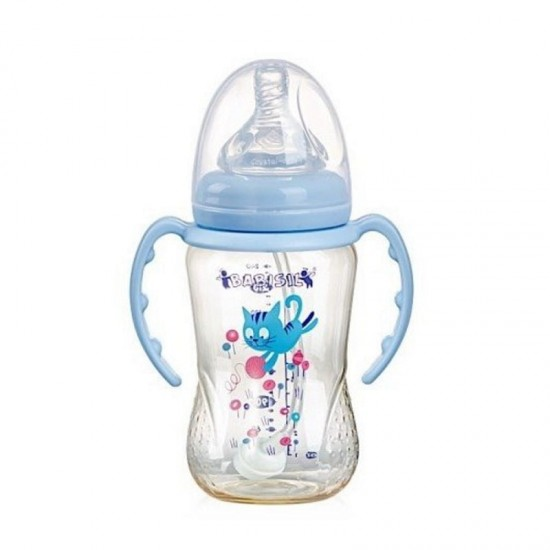 Babisil 8 oz Wide Neck PPSU Feeding bottle with Flexi-straw - Blue