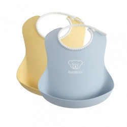 BabyBjorn Baby Bib 2 Pack - Powder Yellow / Powder Blue