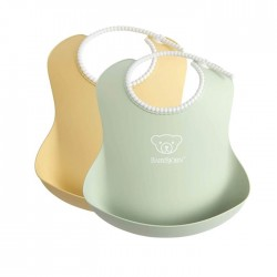 BabyBjorn Baby Bib 2 Pack - Powder Yellow / Powder Green