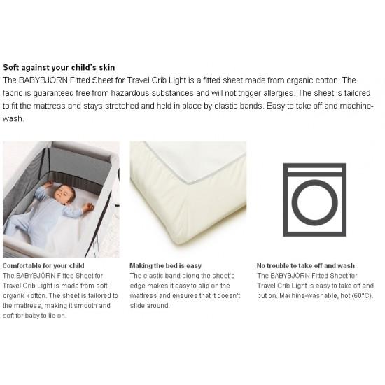 Babybjorn Fitted Sheet for Travel Crib Light