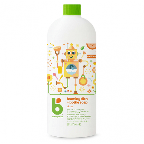Babyganics Foaming Dish & Bottle Soap Refill 946ml - Citrus
