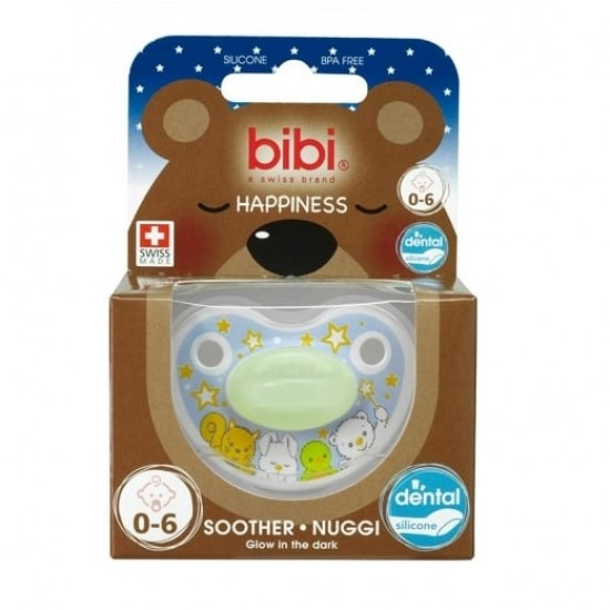 bibi Happiness soother with dental silicone teat - 4 Friends flow in the dark