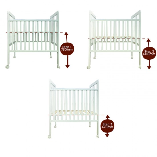 California Bear Venus Plus Baby Cot  - White  - 40 x 24 ""