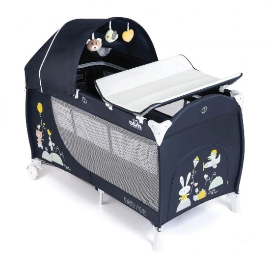 CAM Daily Plus Travel Cot - Blue/Animal Party