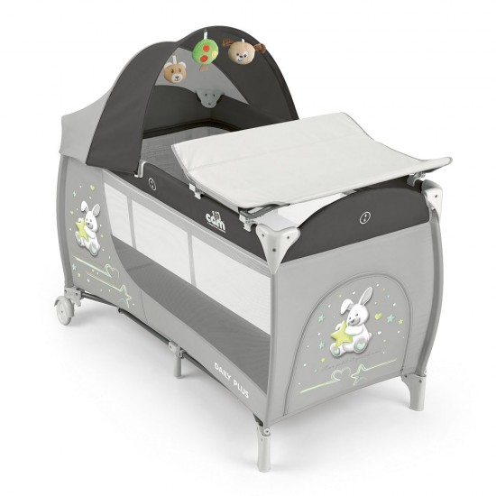CAM Daily Plus Travel Cot - Grey / Rabbit