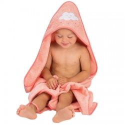Clevamama Cotton Apron Baby Bath Towel - Coral (2922)