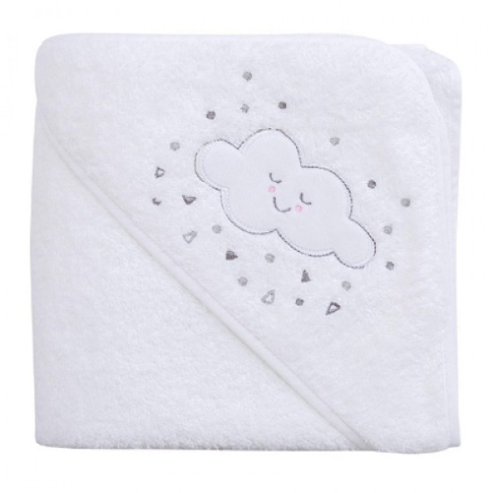 Clevamama Cotton Apron Baby Bath Towel - White