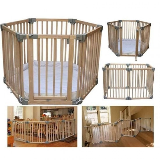 Clippasafe Multifuctional Wooden Playpen with Base Mat