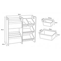 Baby Star x Delsun Book Rack & 4 Toy Storage Organizer - Macaron