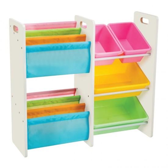 Delsun Book Rack & 4 Toy Storage Organizer - Macaron
