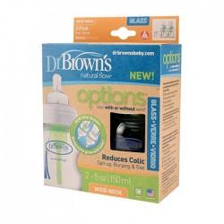 Dr Brown's Options Wide Neck Glass Bottle - 5oz x 2 pcs