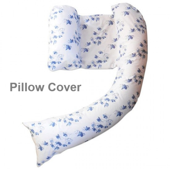 dreamgenii pregancy support & feeding pillow Cover -  Blue Oriental Blossom