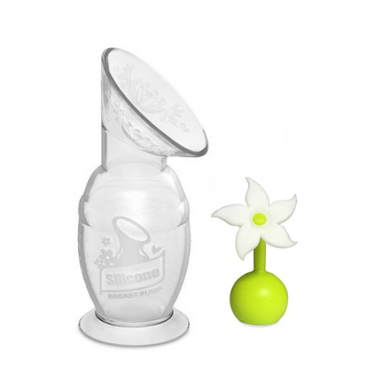 Haakaa Silicone Breast Pump( 150ml) + Flower Stopper (white)