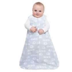 HALO SleepSack, Micro-Fleece - 3 elephants blue print (Size M)