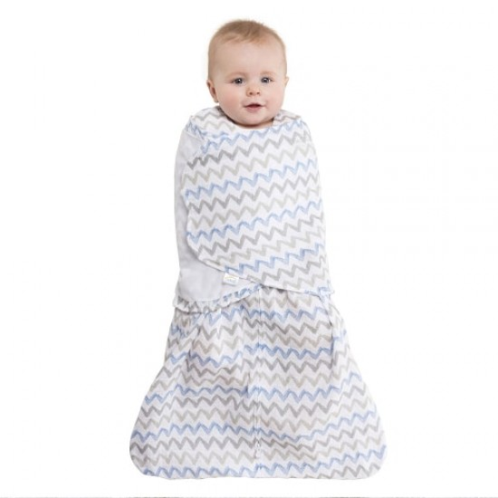 HALO SleepSack Swaddle, Cotton Muslin - Chevron Blue Gray