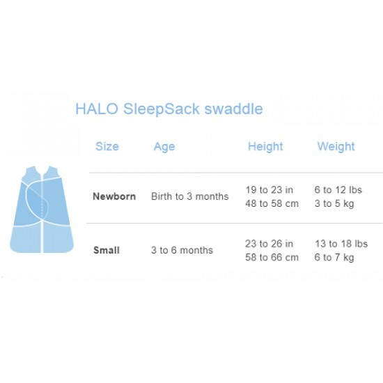 HALO SleepSack Swaddle, Cotton - Baby Blue Bunnies