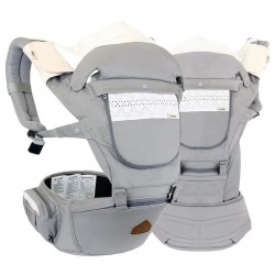 i-angel 4-in-1 New Miracle 4 Seasons Hip Seat Carrier - Ash Grey / Cotton