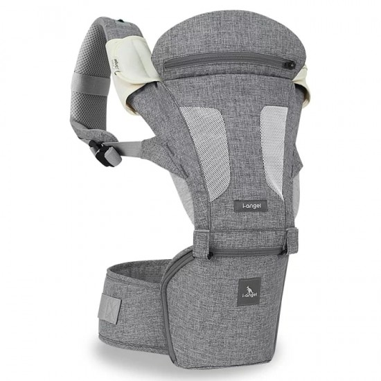 i-angel 2-in-1 New Magic 7 Folding Hip Seat Carrier - Melange Grey