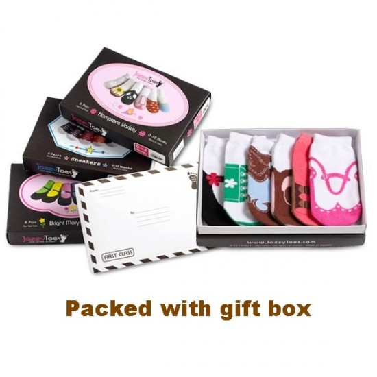 Jazzy Toes Baby Girls Socks 6 Pairs Gift Box,  12 -24 m