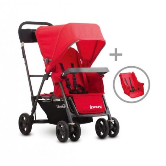 Joovy Caboose UL Graphite w/ Rear Seat (Red)