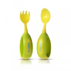 Kidsme Toddler Spoon and Fork Set - Lime
