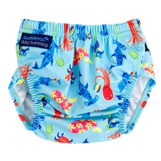 Konfidence ONE SIZE Swim Nappy - Sea Friends Cyan