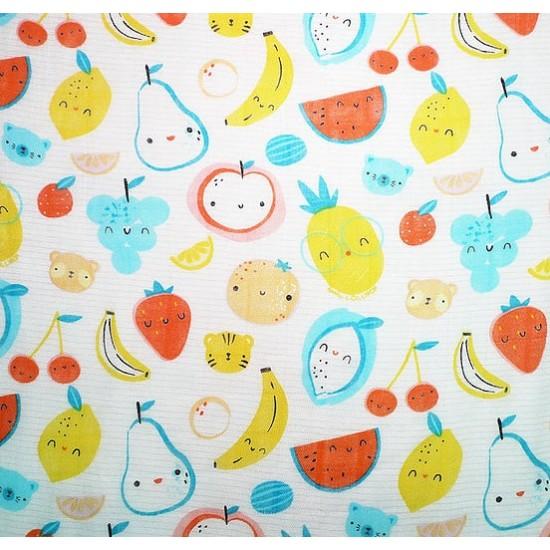 Lenny World Baby Bamboo Muslin Hooded Towel - Fruit