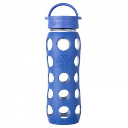 Lifefactory 22oz Glass Bottle with Classic Cap - Cobalt
