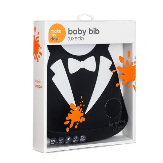 Make My Day Baby Bib -Tuxedo