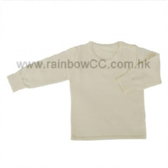 Minimoto Lamb cotton round neck open shoulder top