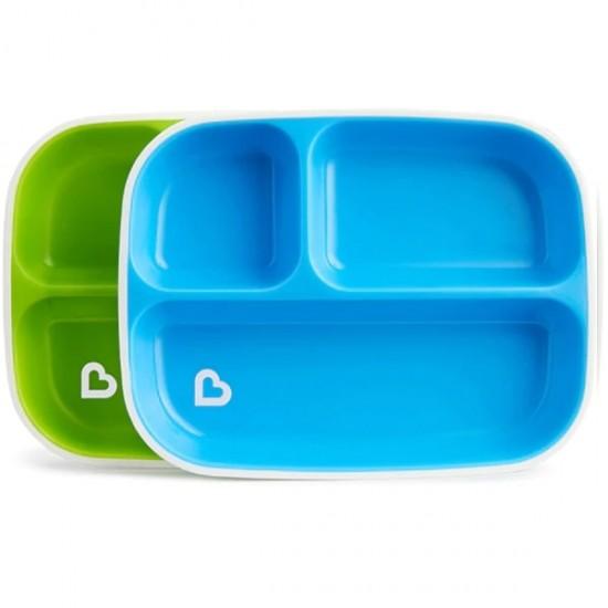 Munchkin Splash Toddler Divided Plates - Blue / Green