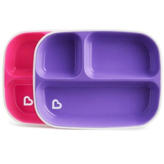 Munchkin Splash Toddler Divided Plates - Red / Purple