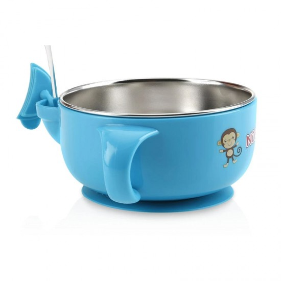 Nuby Stainless Steel Suction Bowl w/with reservoir & Lid - Blue