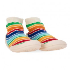 Nuby Snekz Sock & Shoe,  Small - White with Red Stripes