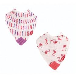 Nuby cotton muslin Bibs with Teether - Flamingo/Brush
