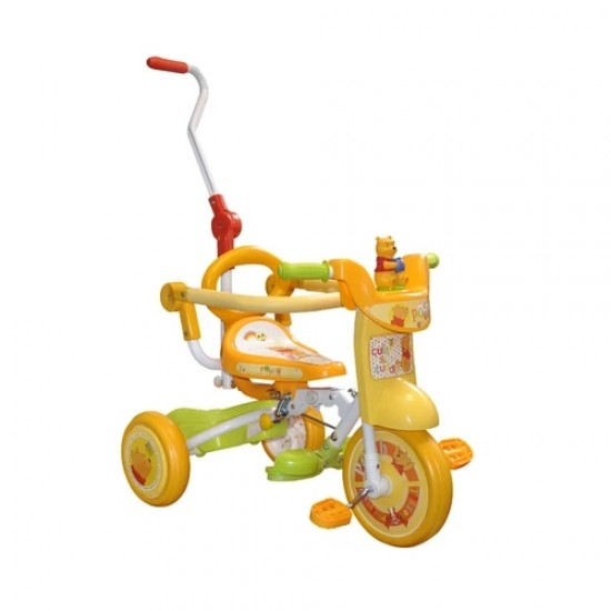 Winnie the Pooh Foldable Tricycle with Push handle and guard