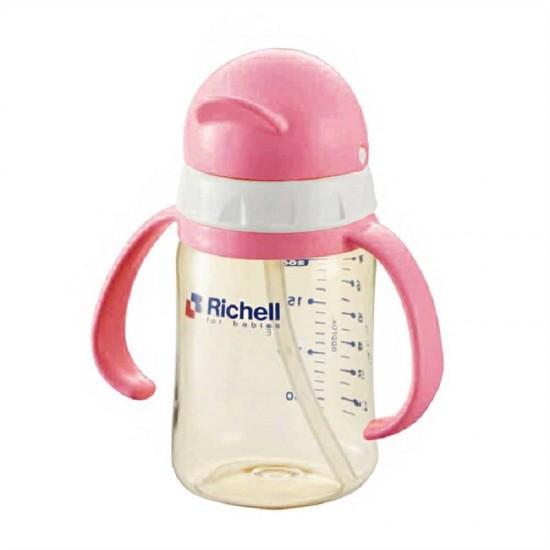 Richell PPSU straw bottle 200 ml - Pink