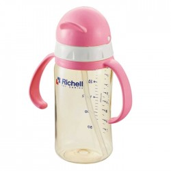 Richell PPSU straw bottle 260 ml - Pink