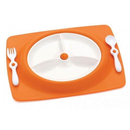 Skip Hop Stay-Put Mat & Plate - Orange