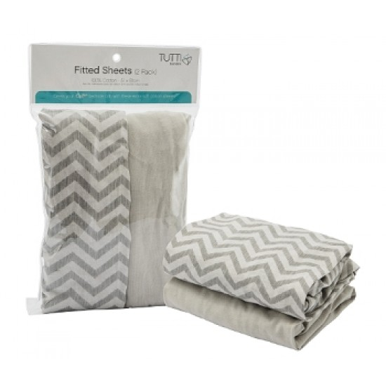 Tutti BAMBINI COZEE Fitted Sheets ( Chevron/Grey )- 2 pcs